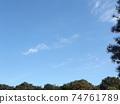 藍天和白雲在寒冷的冬天在Inage海濱公園 74761789