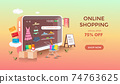 Women online shopping with mobile store design. Summer sale, discount and promotion banner. Gradient background vector illustration 74763625
