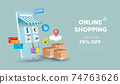 Online shopping store on website and mobile phone design. Smart business marketing concept. Horizontal view. Vector Illustration 74763626