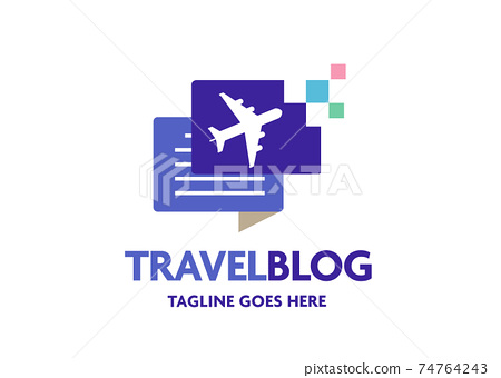 travel blog with simple air plane symbol vector illustration, traveler logo vector 74764243