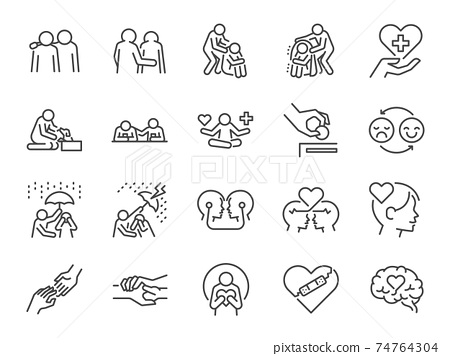 Empathy line icon set. Included the icons as cheer up, friend, support, emotion, mental health, and more. 74764304