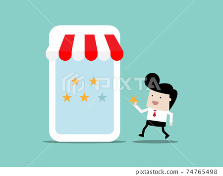 man give stars feedback to store in mobile application social marketing concept 74765498