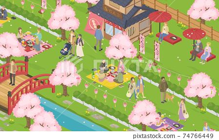 봄의 꽃놀이 날씨 사람들의 생활 풍경 (거리, 거리)의 벡터 일러스트 배너 (사시) 74766449