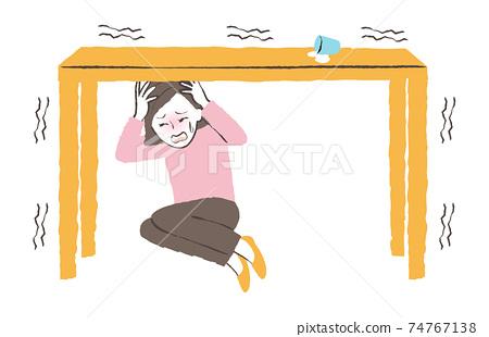 지진 때 책상 아래에 피난 74767138