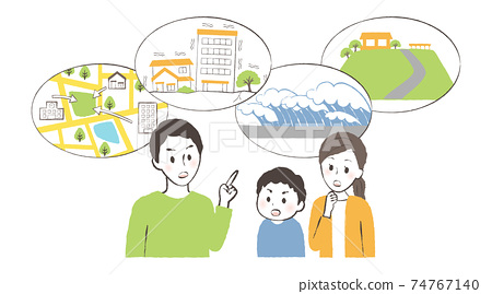 一家人討論地震發生時撤離哪裡 74767140