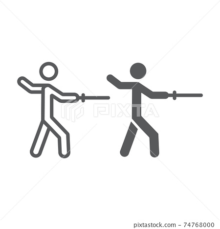Man fencing line and glyph icon, sport and fighting, fencer sign, vector graphics, a linear pattern on a white background. 74768000