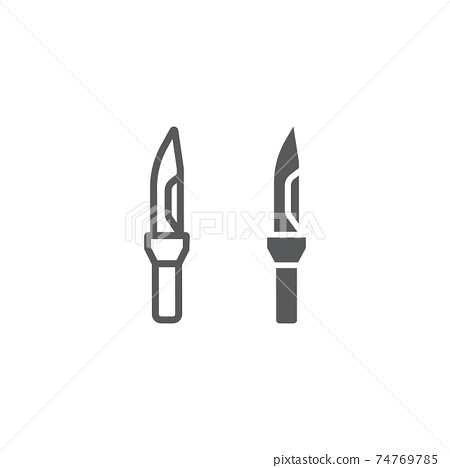 Army knife line and glyph icon, army and weapon, military knife sign, vector graphics, a linear pattern on a white background. 74769785