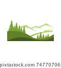 Landscape mountain pine tree design outdoor logo 74770706