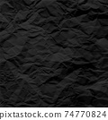 Black crumpled paper texture pattern. Rough grunge old blank. Vector abstract background. 74770824