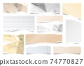 Colorful ripped paper strips isolated on white background. Realistic lined paper scraps with torn 74770827