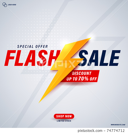 Flash sale banner template design for web or social media. 74774712