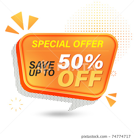 Sale banner template design for web, Sale special offer save up to 50% off. 74774717