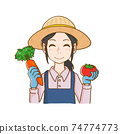 Woman holding vegetables in both hands 74774773