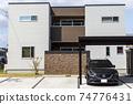 帶車庫的房屋和汽車 74776431