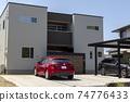 帶車庫的房屋和汽車 74776433