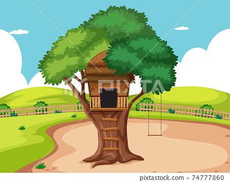 Tree house in the park scene 74777860