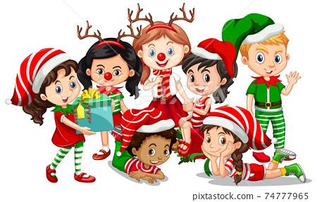 Children wear Christmas costume cartoon character on white background 74777965