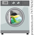 Front view of washing machine isolated 74778292