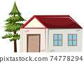 A small house with a tree isolated on white background 74778294
