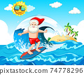 Santa Claus surfing at the beach for summer christmas 74778296