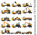 Different types of construction trucks 74778299