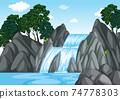 Forest background scene with waterfall 74778303
