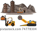 Coal mining scene with different types of construction trucks 74778304