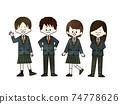 Free choice of school uniform-watercolor 74778626