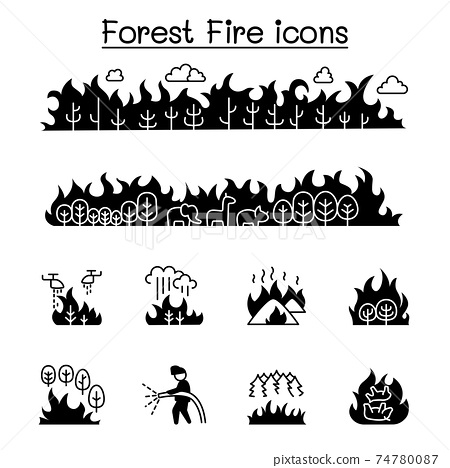 Wildfire, forest fire icon set vector illustration graphic design 74780087