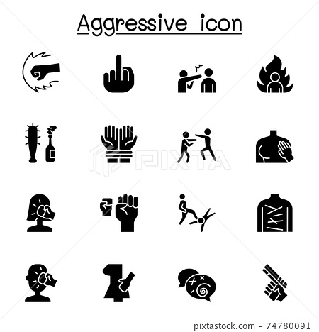 Set of Violence Related Vector Icons. Contains such Icons as human trafficking, sexual harassment, bully, angry, hit, rude, brawl and more. 74780091