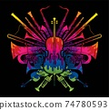Orchestra Instruments Set Designed Using Colorful Brush Cartoon Graphic Vector  74780593