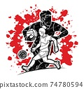 Gaelic Football Male and Female Players Action Cartoon Graphic Vector 74780594