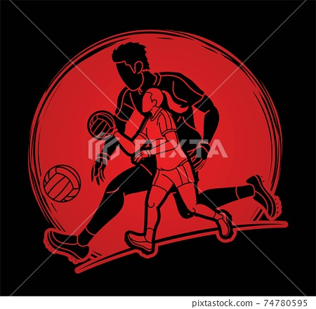 Gaelic Football Male and Female Players Action Cartoon Graphic Vector 74780595