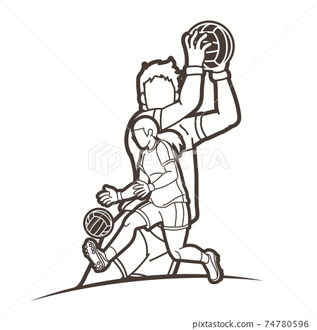 Gaelic Football Male and Female Players Action Cartoon Graphic Vector 74780596