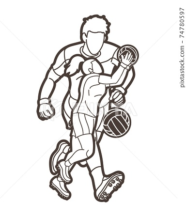 Gaelic Football Male and Female Players Action Cartoon Graphic Vector 74780597