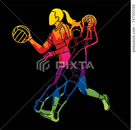Gaelic Football Male and Female Players Action Cartoon Graphic Vector 74780599