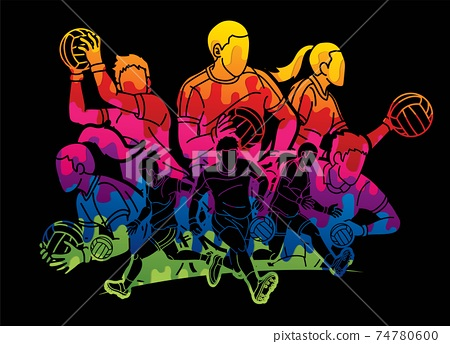 Gaelic Football Male and Female Players Action Cartoon Graphic Vector 74780600