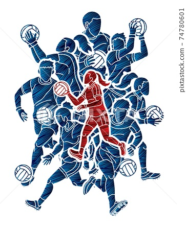 Gaelic Football Male and Female Players Action Cartoon Graphic Vector 74780601
