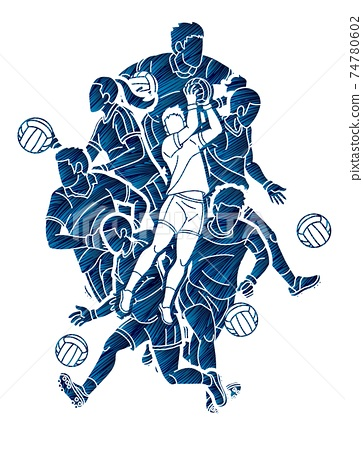 Gaelic Football Male and Female Players Action Cartoon Graphic Vector 74780602
