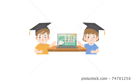 A boy and a girl wearing graduation hat standing in front the online class in the laptop illustration vector on white background. Education concept 74781258