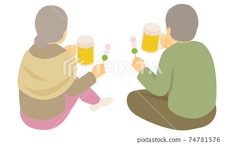 맥주를 마시고 앉아서 얘기 노인의 뒤에 모습 벡터 일러스트 (사시, 등각) 노부부 74781576