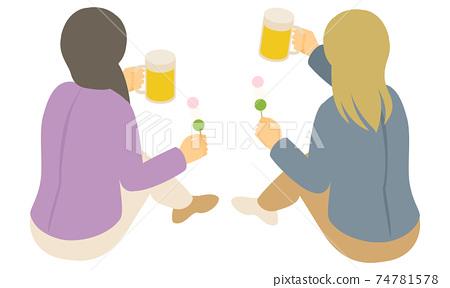 앉아서 맥주로 건배하는 젊은 여성의 뒷모습 벡터 일러스트 (사시, 등각) 74781578