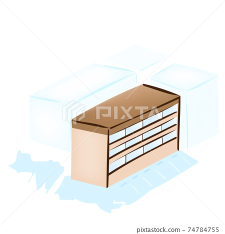 Scenery of a three-story apartment building (vector illustration of the building) 74784755