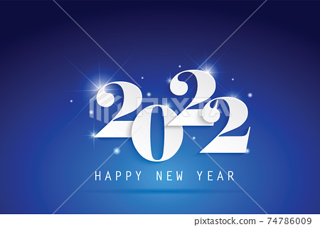 2022 Happy New Year elegant design - vector illustration of paper cut White color 2022 logo numbers on blue background - perfect typography for 2022 save the date luxury designs and new year celebrati 74786009