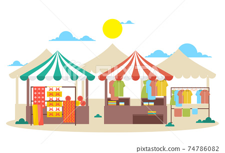 Fresh Fruit Vegetable Store Stall Stand Grocery in Market Illustration 74786082