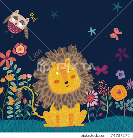 Abstract children's illustration, little lion, owl, flowers, balloons, and leaves 74787176