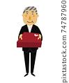 人的物質。黨的圖像例證。一套正式衣服的老人。 74787960