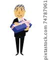 人的物質。黨的圖像例證。一套正式衣服的老人。 74787961