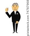 人的物質。黨的圖像例證。一套正式衣服的老人。 74787968