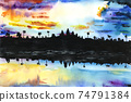 Watercolor drawing of an ancient asian temple on the background of a beautiful sky at sunset 74791384